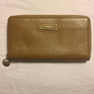 DKNY Saffiano Leather Zip Wallet